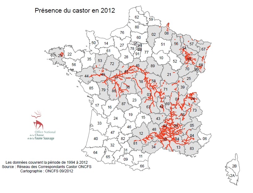 Carte répartition Castor France ONCFS 2012